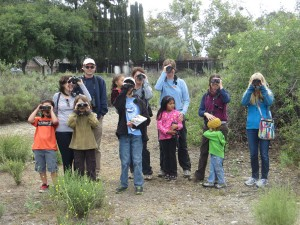 A group watching birds during the first annual BFS Earth Day Celebration