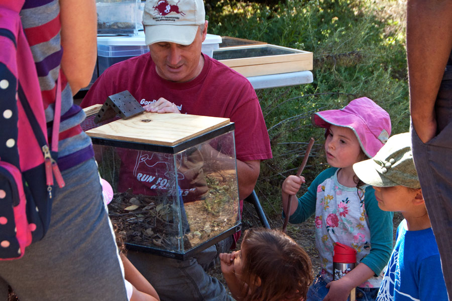 Prof. Paul Stapp (Cal State Fullerton) shows off a woodrat on the Family Science Tour.