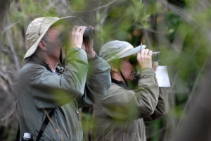 Paul Clarke and Cathy McFadden counting birds at pHake Lake, April 2010. Nancy Hamlett.