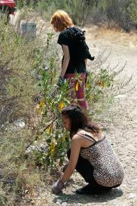 Alicia Jackson (Citrus) and Lakota Moon (Citrus) work along the road to the toad pond.