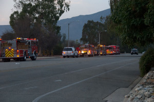 7:08 PM - Fire trucks and other emergency vehicles along Foothill Blvd. Nancy Hamlett.