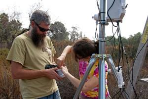 BFS Director Marty Meyer and Prof. Lelia Hawkins (HMC Chemistry) prepare the temperature and humidity sensor for installation. Nancy Hamlett.