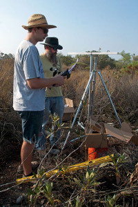 Pete Pelletier (Pomona '14) and BFS Director Marty Meyer preparing to install the windspeed indicator. Nancy Hamlett.
