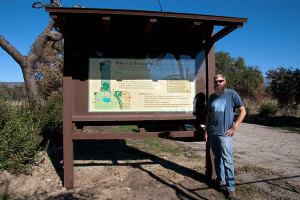 BFS Director Wallace (Marty) Meyer by the newly restored kiosk and sign.  Nancy Hamlett.
