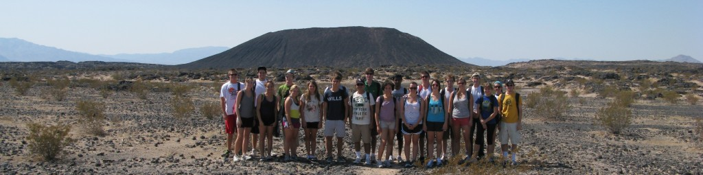 -- students visiting Amboy Crater, CA