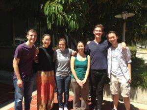 Liu Lab Summer 2016. (Left to right) Jeremy Shaffer '15, Maya Tsao-Wu '17, Katie Page '17, Jane Liu, Tanner Byer '17, Mark Zhang '17